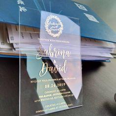 Acrylic Wedding Invitation Gold Foil metallic custom clear   Etsy Acrylic Wedding Invitations, Graduation Invitations, Wedding Invitation Cards, Party Invitations, Invitation Card Format, Wedding Planning, Wedding Ideas, Gold Foil, Metallic