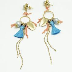 Multi charms tassel earrings  / Nina Rossi Jewelry / Biżuteria / Kolczyki