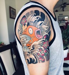 First tattoo: japanese/koi style magikarp by chase martines at til death tattoo in denver, Kanji Tattoo, 1 Tattoo, First Tattoo, Yakuza Tattoo, Tattoo Symbols, Charizard Tattoo, Pokemon Tattoo, Tattoo Japanese Style, Traditional Japanese Tattoos