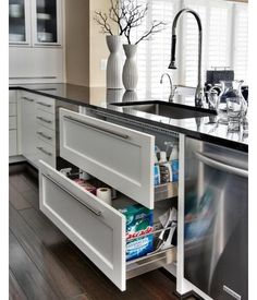Why don't more people do this?  A short depth drawer for the top and regular depth for the bottom drawer.  You can actually see what is under your sink. Kitchen design - this would be a great change for underneath my kitchen sink. #revitalizeandredesign