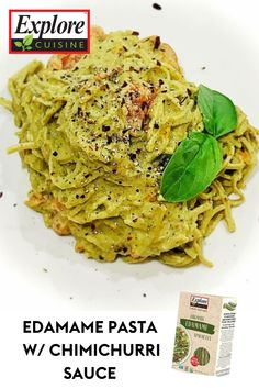 Pasta...but make it healthy! Try this recipe using Explore Cuisine's Edamame Spaghetti as a protein-packed, healthy alternative so you're making sure on your really filling up on good stuff! Edamame Spaghetti, Edamame Pasta, Protein Pack, Chimichurri, Healthy Alternatives, Plant Based Recipes, Recipe Using, Meals, Explore