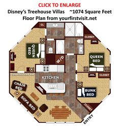 Floor Plan Disney's Treehouse Villas from yourfirstvisit.net