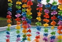 luau decorations - re-purpose flower leis for cute picture background