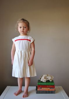 1960s Fluerette White dress, size 2t/3t.