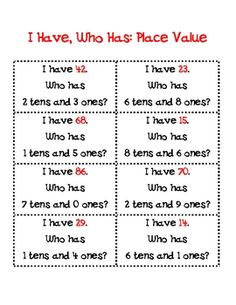 I Have, Who Has: Place Value Ones and Tens