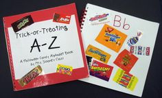 """Halloween Candy ABC Book - For this class book, each child brings in 10 candy wrappers. I do not put on duplicate wrappers. If you do not get a kind of candy for a certain letter, I make up things to write on blank pages. Some examples are, """"Oh, No"""" for O and """"Invisible Candy"""" for Ii. """"X-tras"""" """"Yummy Yummy"""" and """"Zillions of Candies"""" along with extra wrappers, finish up the alphabet book."""