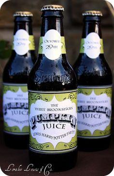 Harry Potter Pumpkin Juice Bottle Wraps . Hogwarts Express Harry Potter Collection . by Loralee Lewis. $30.00, via Etsy.