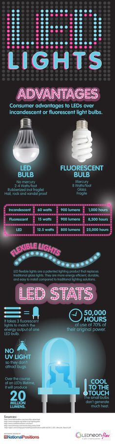 LED Lighting and Statistics Infographic