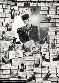 Love all the boxes in this great 1943 Delman Shoe ad. #vintage #shoes #fashion #1940s #ads