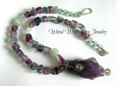 Amethyst Quartz pendant & Fluorite nugget bead necklace.. Sterling silver wirewrapped pendant, Handmade Statement Necklace, purples, greens - pinned by pin4etsy.com