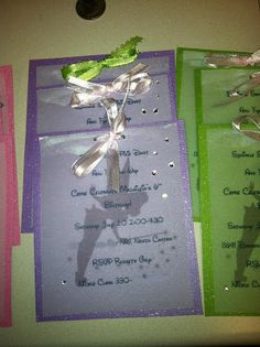 Tinkerbell Party Invitations. Also check out my shop for cute party favors www.partiesandfun.etsy.com