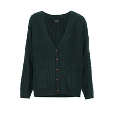 TOPSHOP Knitted Cable Cardigan (50 CAD) ❤ liked on Polyvore featuring tops, cardigans, outerwear, sweaters, jackets, bottle, green top, topshop cardigan, topshop tops and green cable knit cardigan