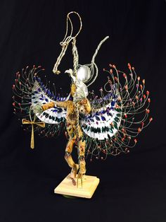The Egyptian Goddess is another creation by Moisés DeSousa paying tribute to Egyptian mythology. This hand made project applied materials such as brass, Galvanized wire, Acrylic beads, used aluminum cans, and used wine corks. Perfect for interior design  #bymoisesnyc #MDSD #ByMoisesDeSousaNYC