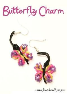 Butterfly charm earrings Tutorial, instructions and videos on hundreds of loom band designs. Shop online for all your looming supplies, delivery anywhere in SA. Rainbow Loom Earrings, Rainbow Loom Bands, Rainbow Loom Charms, Rainbow Loom Bracelets, Loom Band Charms, Rubber Band Charms, Loom Band Bracelets, Rubber Bands, Rainbow Loom Tutorials