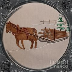 Newfoundland Pony Hauling Wood - Porthole Vignette by Barbara Griffin. This vintage Newfoundland scene is a drawing on fabric of a Newfoundland pony towing a slide load of wood. The pony is designated a heritage animal.