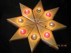 Star Burst Wooden Tea Light Holder's by huffanstuff on Etsy