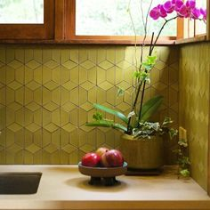 A John Lautner house + Dwell Patterns Heath tile in Ochre make for a very pleasant corner. Design: W Heath Ceramics Tile, Heath Tile, Kitchen Tiles, Kitchen Flooring, Kitchen Furniture, Green Tile Backsplash, Kitchen Cabinets, Cupboards, Wood Furniture