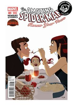 A Newbury Comics exclusive variant cover comic. Peter, Mary Jane and their daughter may not have much - but they have each other. But a new foe has taken their city by storm, its heroes falling by the