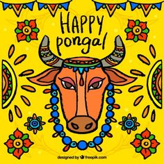 Colorful pongal background with cow and ... | Free Vector #Freepik #freevector #background #flower #floral #hand Pongal Images, Happy Pongal Wishes, Cow Illustration, Cow Colour, Montessori Art, Festival Background, Whatsapp Dp Images, Header Pictures, Twitter Image