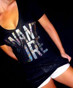 Victoria's Secret Pink Tee T-shirt black silver foil logo | I WANT MORE | XS #VictoriasSecret #GraphicTee
