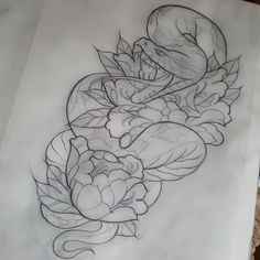 "63 Likes, 1 Comments - benalmond (@benalmondtattoos) on Instagram: ""Design for tuesday, looking forward to this! #snake #peony #snaketattoo #snaketattoo #tattoo…"""