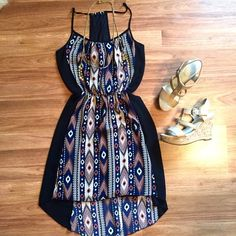Aztec print hi low racerback chiffon dress Black navy and nude Aztec print chiffon dress. High low detailing. Cinched waist and racerback detail. Super adorable and comfortable, dress up or down! great condition! OPEN TO OFFERS! DISCOUNTS IN BUNDLES! Charlotte Russe Dresses