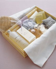 Guest Room Spa: Here, a simple box lined with a cloth contains small indulgences such as scented bar soaps, bath salts, bath gel, lotion, candles, and tea bags.