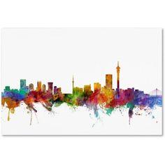 Trademark Fine Art Johannesburg South Africa Skyline Canvas Art by Michael Tompsett, Size: 12 x 19, Multicolor