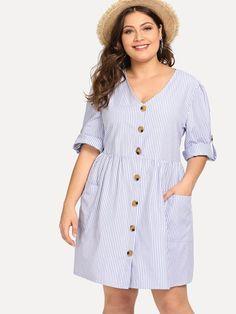 Vestidos Plus Size, Plus Size Dresses, Plus Size Outfits, Surplice Dress, Looks Plus Size, Curvy Dress, Striped Shirt Dress, Dress Shirt, Stripes Fashion