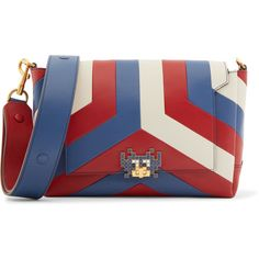 Anya Hindmarch Bathurst Crossbody II Space Invaders striped leather... (41,580 DOP) ❤ liked on Polyvore featuring bags, handbags, shoulder bags, bolsos, blue, red crossbody, leather purses, leather crossbody, red crossbody purse and red leather handbags