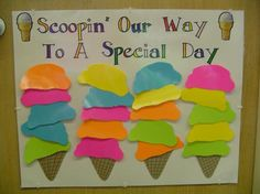 This chart is on the inside of our classroom door so the students could see it anytime. The students earned scoops for good behavior. When the chart was filled, we had a class party. Some of the parties we had were Outdoor Classroom, ice cream sun Candy Theme Classroom, Classroom Rewards, Classroom Door, Future Classroom, Classroom Organization, Classroom Displays, Class Incentives, Behavior Incentives, Behavior Management
