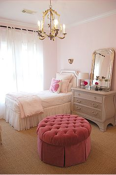 LOVING this ottoman & silk chiffon bed skirt