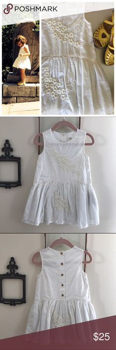 ZARA Baby Collection Cotton Embroidered Dress ZARA Baby Collection. White Cotton dress with embroidered detail throughout. Fully lined skirt. Button closure down back. 100% Cotton. Gently used. Excellent condition. Zara Dresses