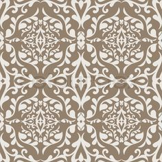 Vector of Beige and White Vines Background Pattern with Flourishes