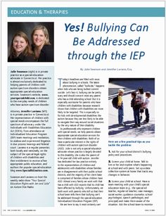 How to address bullying in an IEP