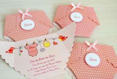Convites de Chá de Bebê no formato de fralda rosa