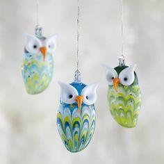 Glass Owl Ornaments I Crate and Barrel