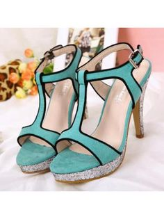 Peep Toe Light Green Suede Stiletto T-strap Sandals