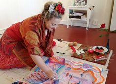 Artist Shiloh Sophia McCloud creating the Muse of Creativity...