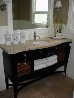French country bathroom inspiration, using a reclaimed wine buffet as a vanity. I'm going to do this for our bathroom. Dresser Vanity Bathroom, Bathroom Vanities, Sinks, Bathroom Renos, Bathroom Ideas, Granite Bathroom, Old Dressers, Repurposed Furniture, Beautiful Bathrooms