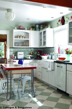 The kitchen is done in vintage style, but looks clean, fresh and new at the same time.