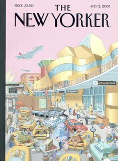 "The New Yorker - Monday, July 2, 2001 - Issue # 3941 - Vol. 77 - N° 17 - Cover ""JFK International Rocketport, 2025"" by Bruce McCall"