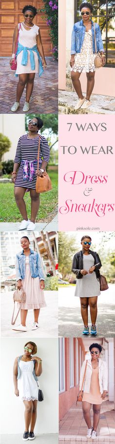 7 ways to wear a dress and sneakers for spring summer outfit. #springoutfits #summeroutfits Women's Fashion Style a dress with sneakers