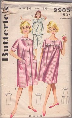 MOMSPatterns Vintage Sewing Patterns - Butterick 9985 Vintage 60's Sewing Pattern CUTE Gidget Sandra Dee Grease Flared Pajamas Top, Capri Pants, Scallop Trim Nightgown & Duster House Coat, Robe Size 14