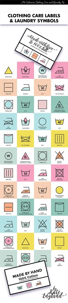 Clothing Labels and Laundry Symbols by Marmalade Moon on @creativemarket
