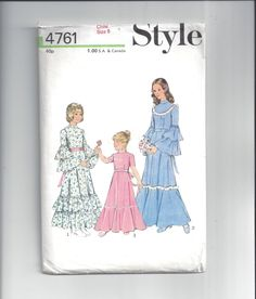 Style 4761 Pattern for Girls' Bridesmaid Dress, Size 6, From 1974, British  Pattern, ~~by Victorian Wardrobe by VictorianWardrobe on Etsy