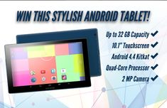 """With Android's latest KitKat operating system, 10.1"""" touch screen, GPS & 32 gb of storage, this ultra modern, sleek WiFi tablet could be yours- free! Thanks to @rapidraffles4u1 and @appzthatroc…"""