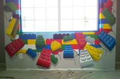 Colorful Lego Murals Painting in Kids Room