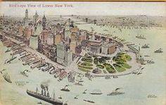 ARTIST RENDERING of LOWER MANHATTAN, NEW YORK CITY ~ SCHENCK & Co. ~ c1912 GEM