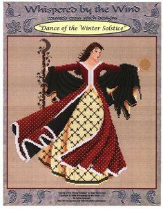 Dance of the Winter Solstice Cross Stitch Pattern - Part of the Dance of the Seasons set from Mari McDonald. Absolutely gorgeous, whether you stitch her alone, or as part of the set. Stitch count is 155w by 160h. #Cross-stitchPatterns #HolidayCross-stitch #Pagan #ChristmasinJuly #Whispered #GryphonsMoon
